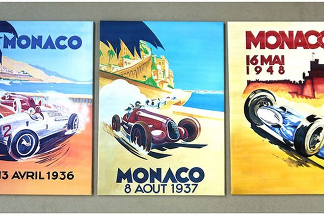 Prints - 3 x Monaco Prints on Canvas 1936, 37 & 48