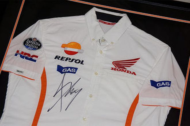 Framed Shirt - Marc Marquez signed Repsol Honda Team - Moto GP championship winner 2014