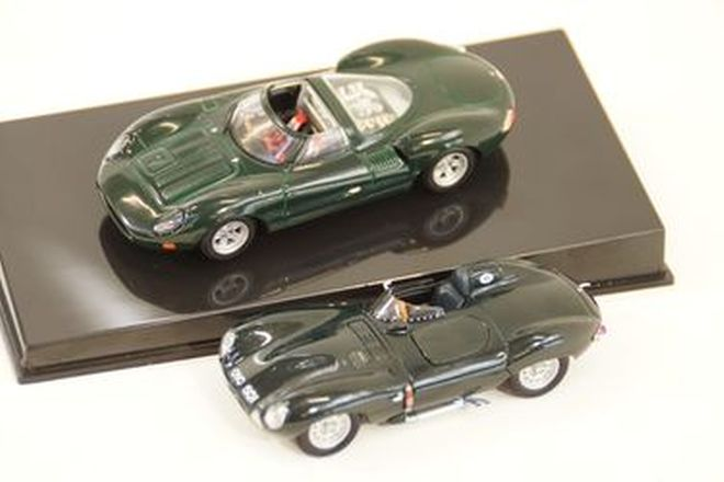 Model Cars x 2 - Autoart Jaguar XJ13 in case & D-Type OVC501 BRG (1:43 scale)