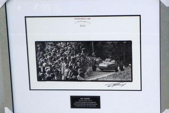 Framed signed print - 1962 French Grand Prix celebrating Porsche's only Formula 1 Win, Dan Gurney