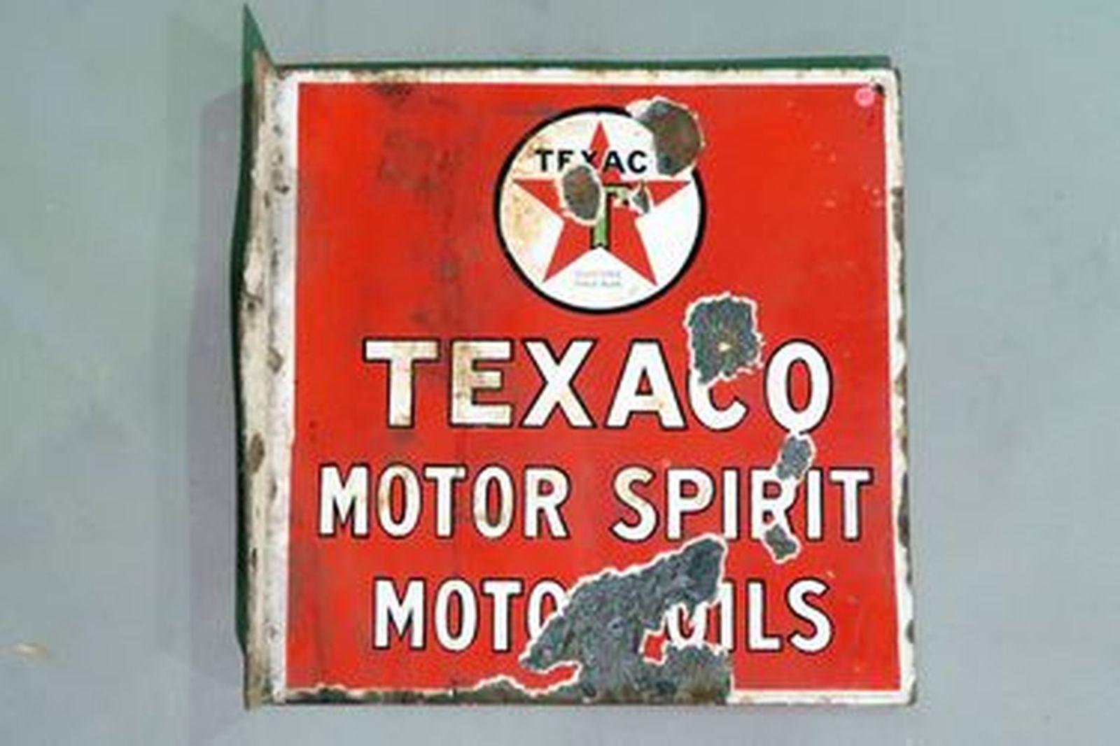 Enamel Sign - Texaco Motor Spirit Motor Oils Double Sided Wall Mount (46 x 46 cm)