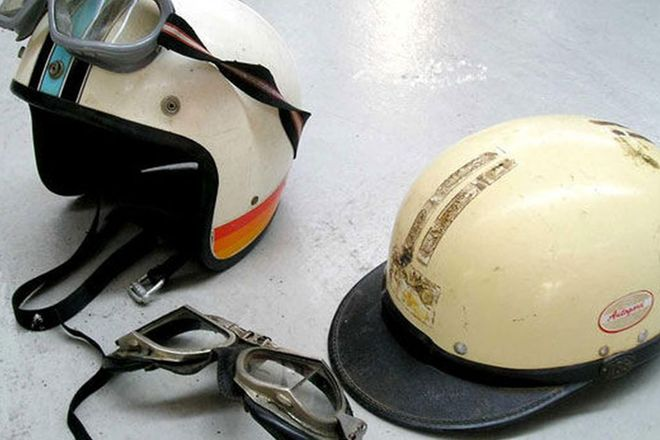 Helmets & Goggles - 2 x Period Race Helmets and Goggles