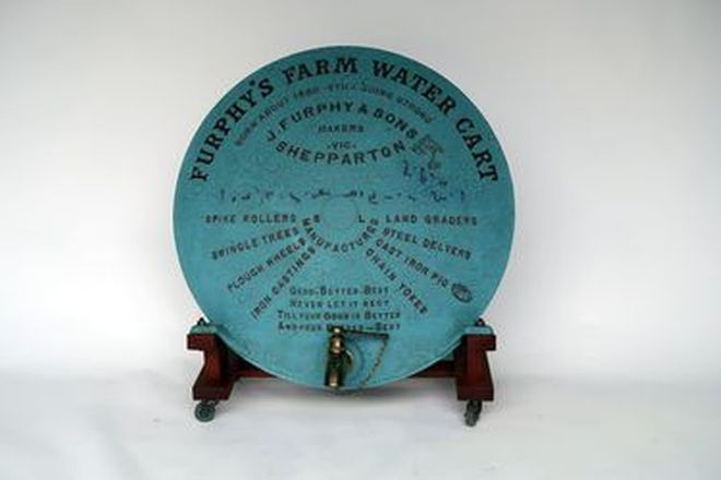 Cast Iron Furphy Water Cart End on Stand