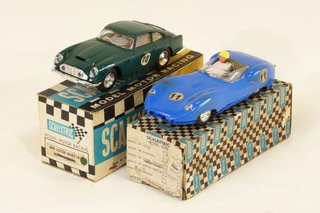 Triang Scalextric x 2 - Lister Jaguar (Blue) & Aston Martin DB4GT with lights (Green) with boxes