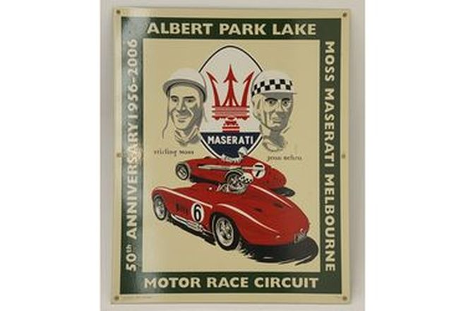 Enamel Sign - Albert Park Lake 50th Anniversary Maserati with Moss & Behra No:37 of 100 (80 x 65cm)