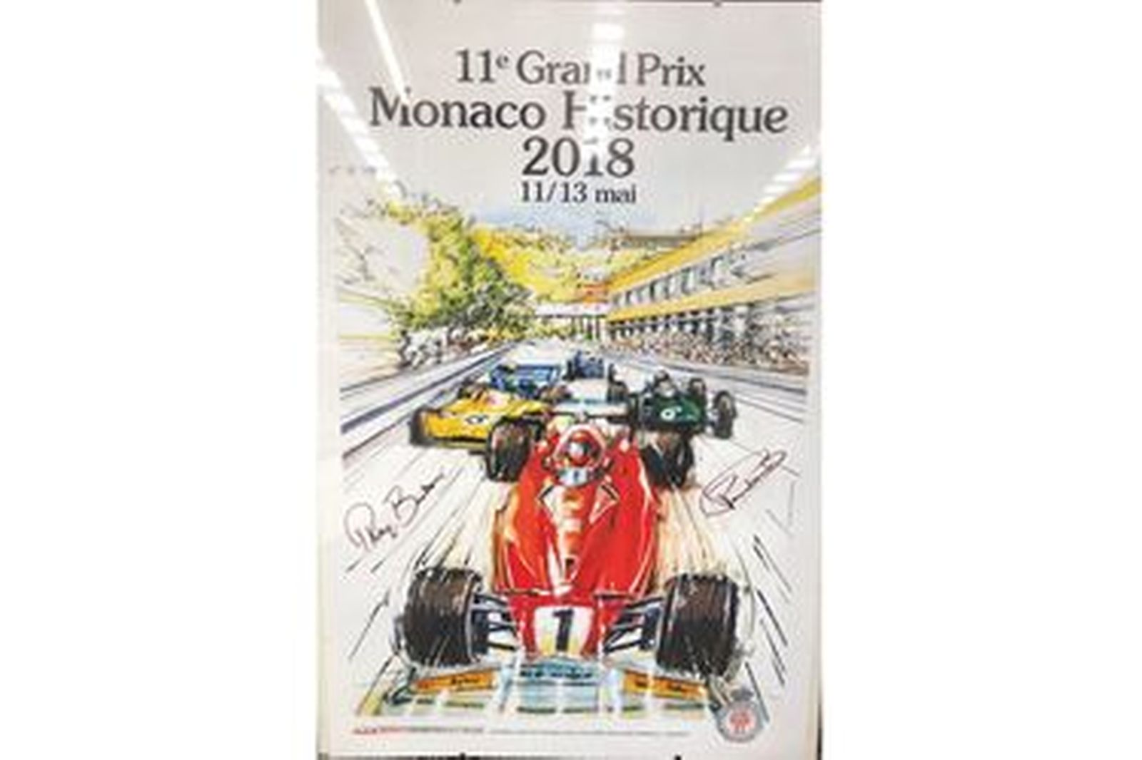 Framed 2018 Historic Monaco Grand Prix Poster  Signed Thierry Boutsen