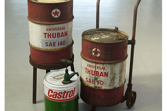 Oil Drums x 3 - 1 x Caltex on Stand, 1 x Caltex on Trolley & 1 x Castrol with hand pump