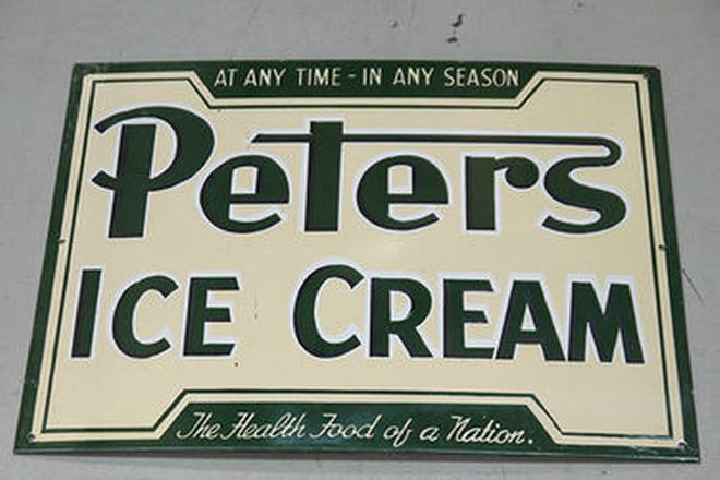 Light - Peter's Ice Cream Cone 'Reproduction' & Peter's Ice Cream Enamel Sign 'Reproduction'
