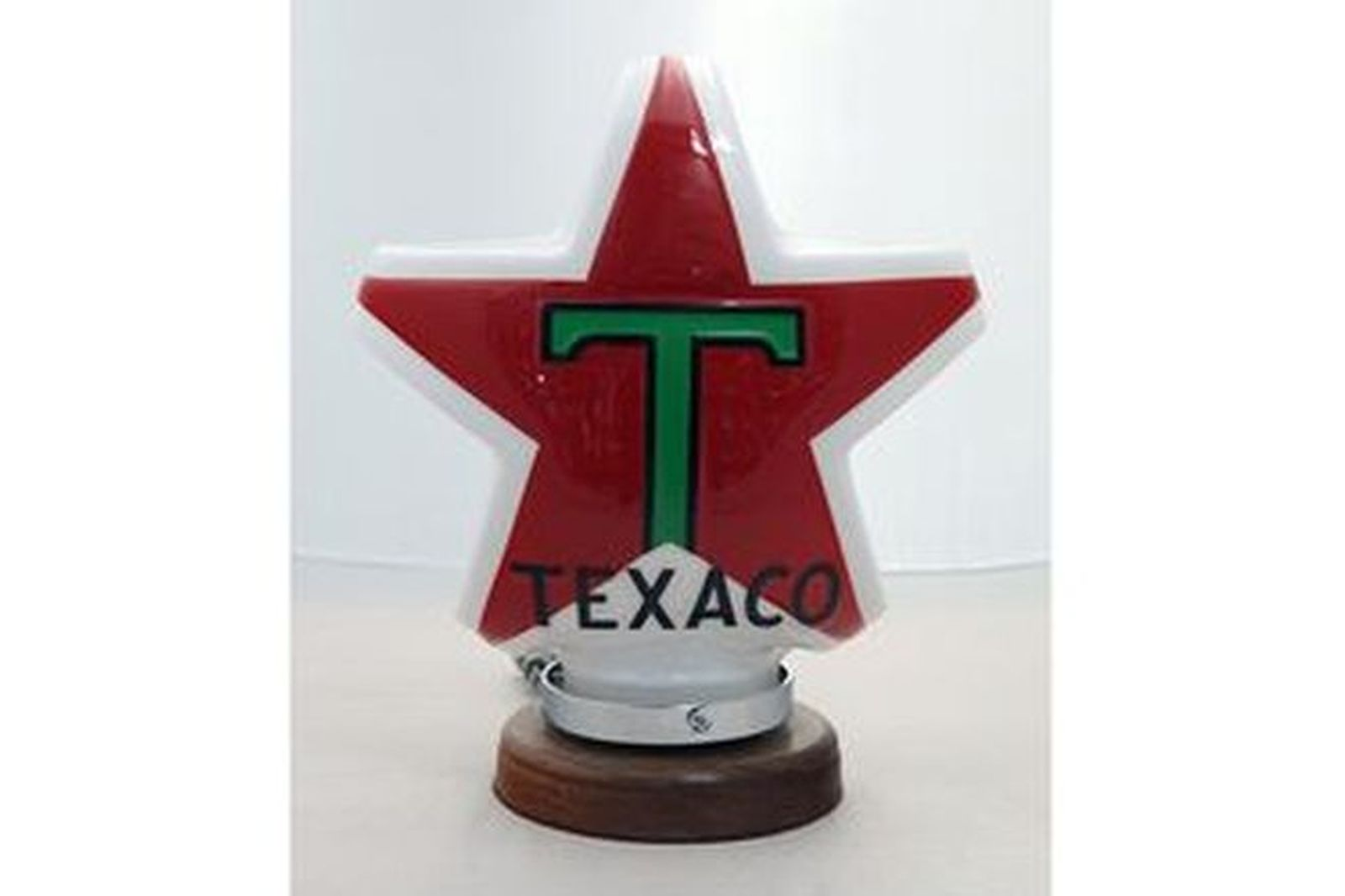 Light - Early Acrylic Texaco Star Bowser Top (Reproduction) with polished timber light up base