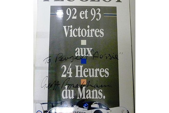 Signed Poster - Peugeot Foam Backed Sign celebrating the 24hr Le Mans Victories