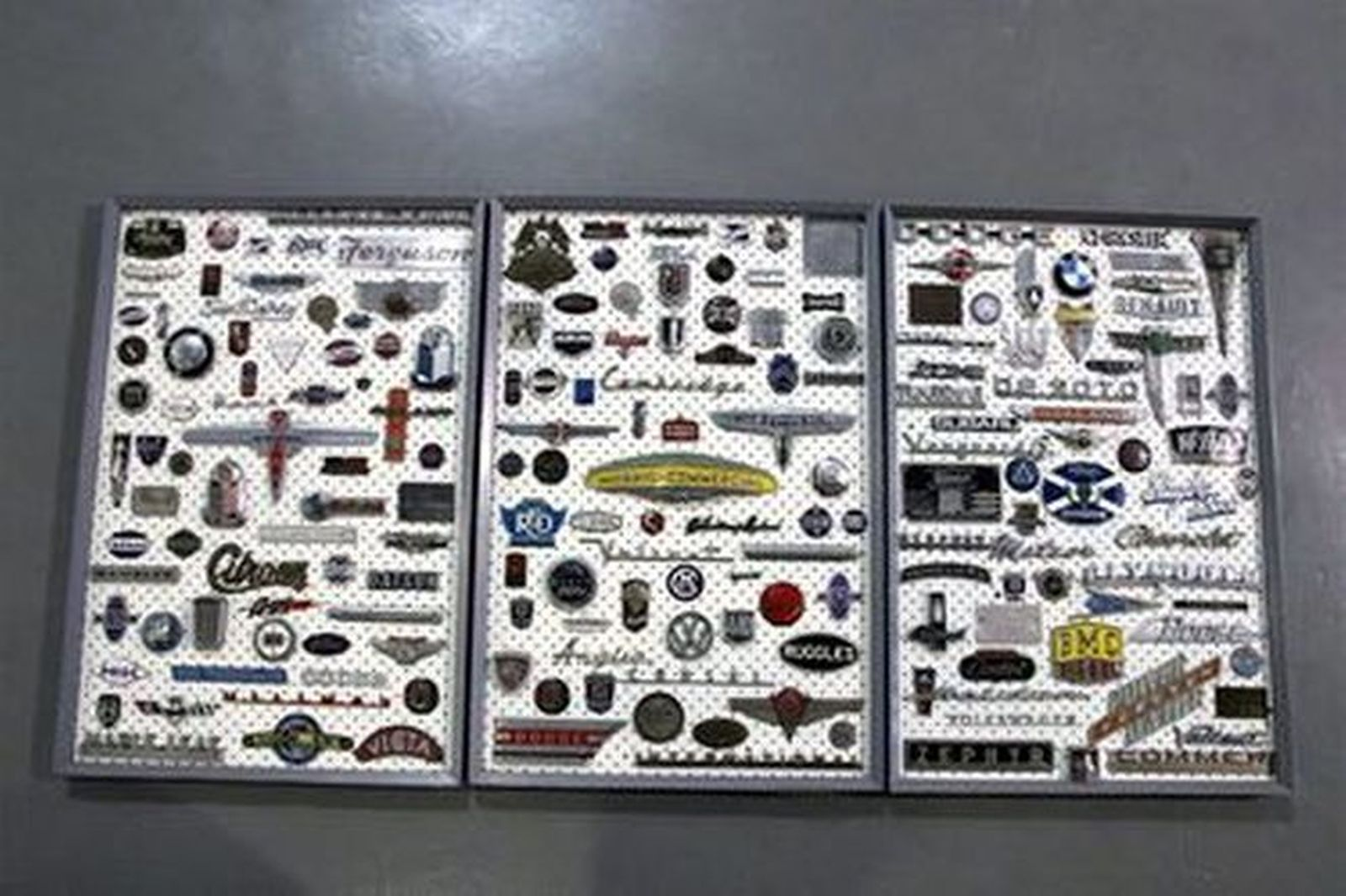 Assorted Car Badges Mounted on Boards x 3