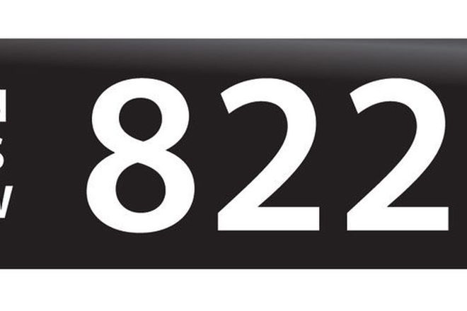 RTA NSW Numerical Number Plates '822'
