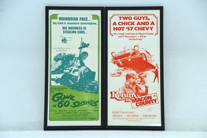 Framed Movie Posters x 2 - Gone in 60 Seconds & Return to Macon Country (79 x 37cm)