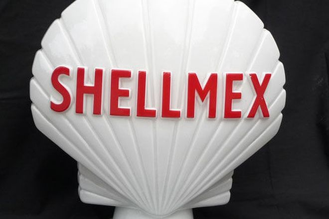 Globe - Shellmex Original Milk Glass British made by Hailware