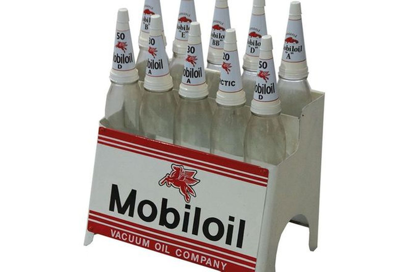 Mobil Oil Rack with 10 x Quart bottles