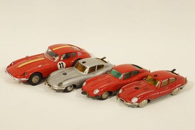 Model Cars x 4 - Schuco Jaguar E-Type Coupes clockwork & Marklin Sprint slot car