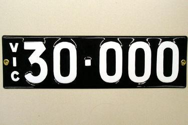 Victorian Vitreous Enamel Number Plates - '30.000'