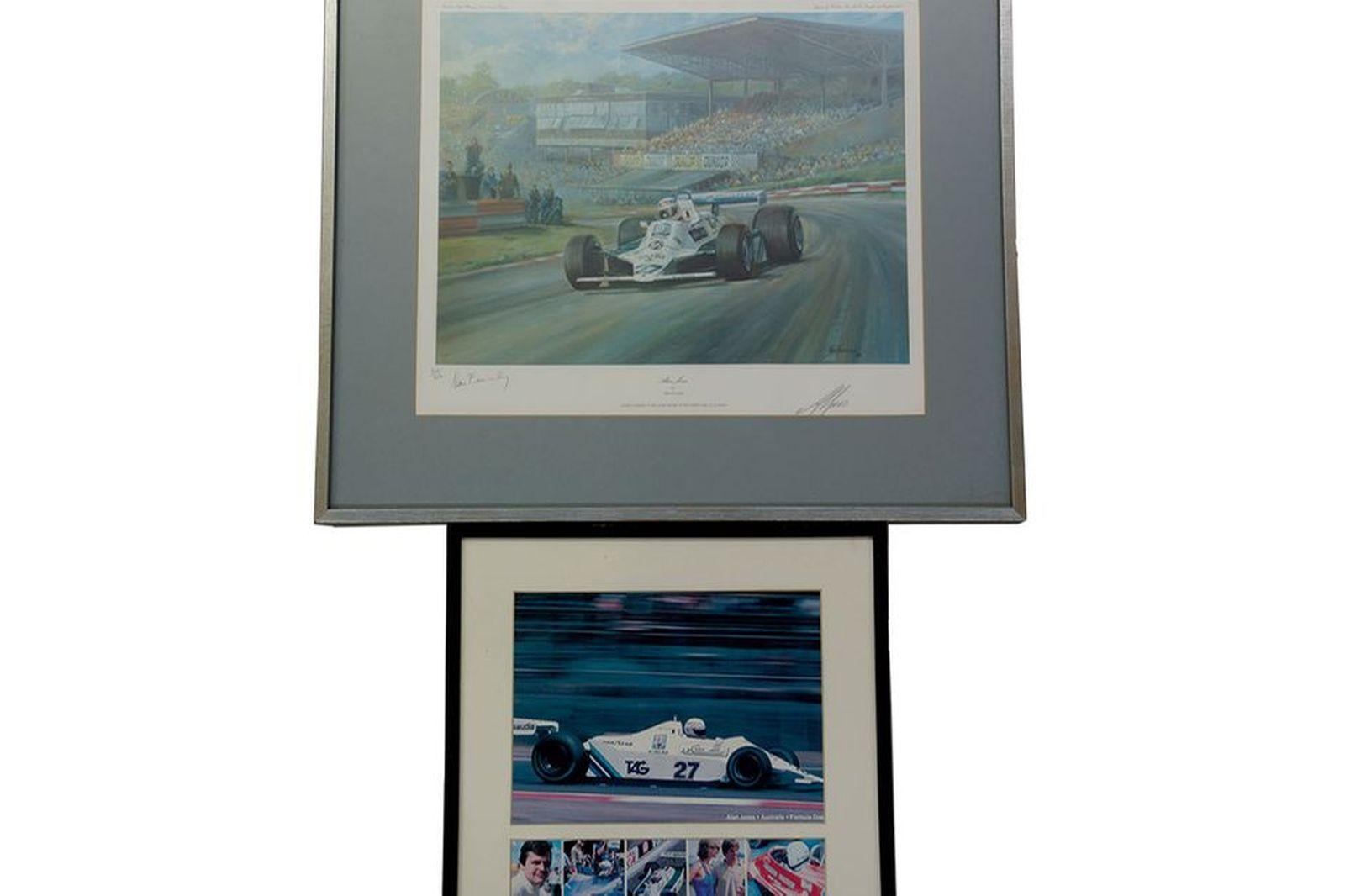 Framed Signed Print - 'Alan Jones in Formula 1 Race Car' signed by Artist & Driver (No: 302 of 850)