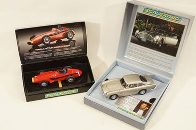Slot Cars x2 - Scalextric Maserati 250F Tinplate & Aston Martin DB5 James Bond Casino Royale