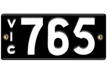 Victorian Vitreous Enamel Number Plate -'765'