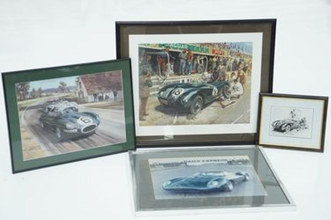 Framed Prints x 4 - Jaguar Pit stop Le Mans 1953, Jaguar D-Type #6, Jaguar C-Type