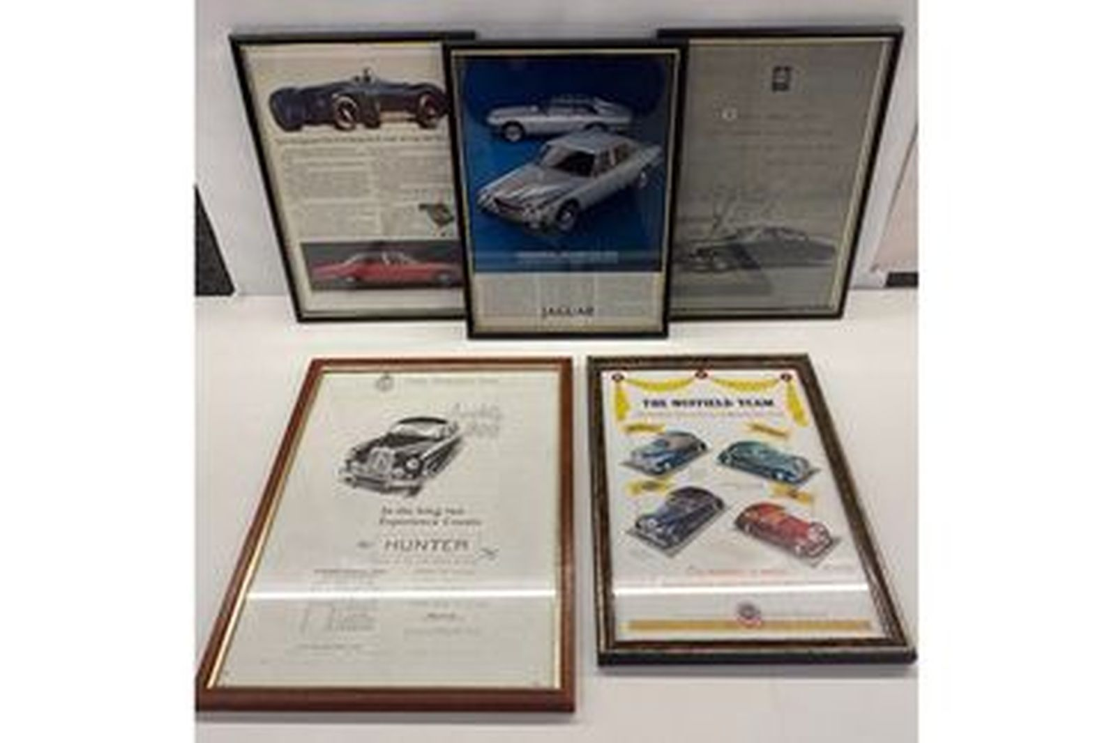Assorted Framed Advertisements , Jag, Morris, Singer Size approx.  31 by 22 cm
