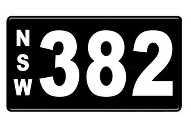 Number Plates - NSW Numerical Number Plates '382'