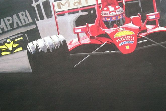 Painting - 2004 Schumacher F1 Ferrari - Acrylic on Canvas (1.5m x 1m )
