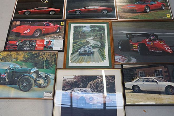 Framed  Posters x 9 - Assorted Ferrari, Bentley and Classic Adelaide