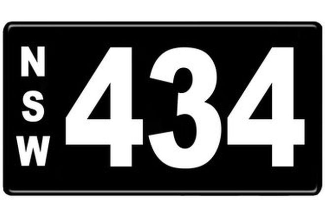 Number Plates - NSW Numerical Number Plates '434'