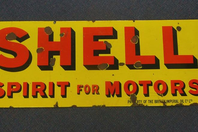 Enamel Sign - Shell 'Spirit for Motors'  (123cm x 46cm)
