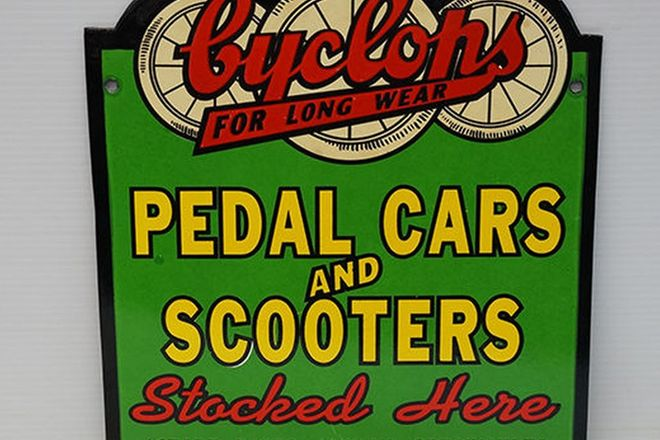 Enamel Sign - Cyclops Pedal Cars and Scooters (reproduction)