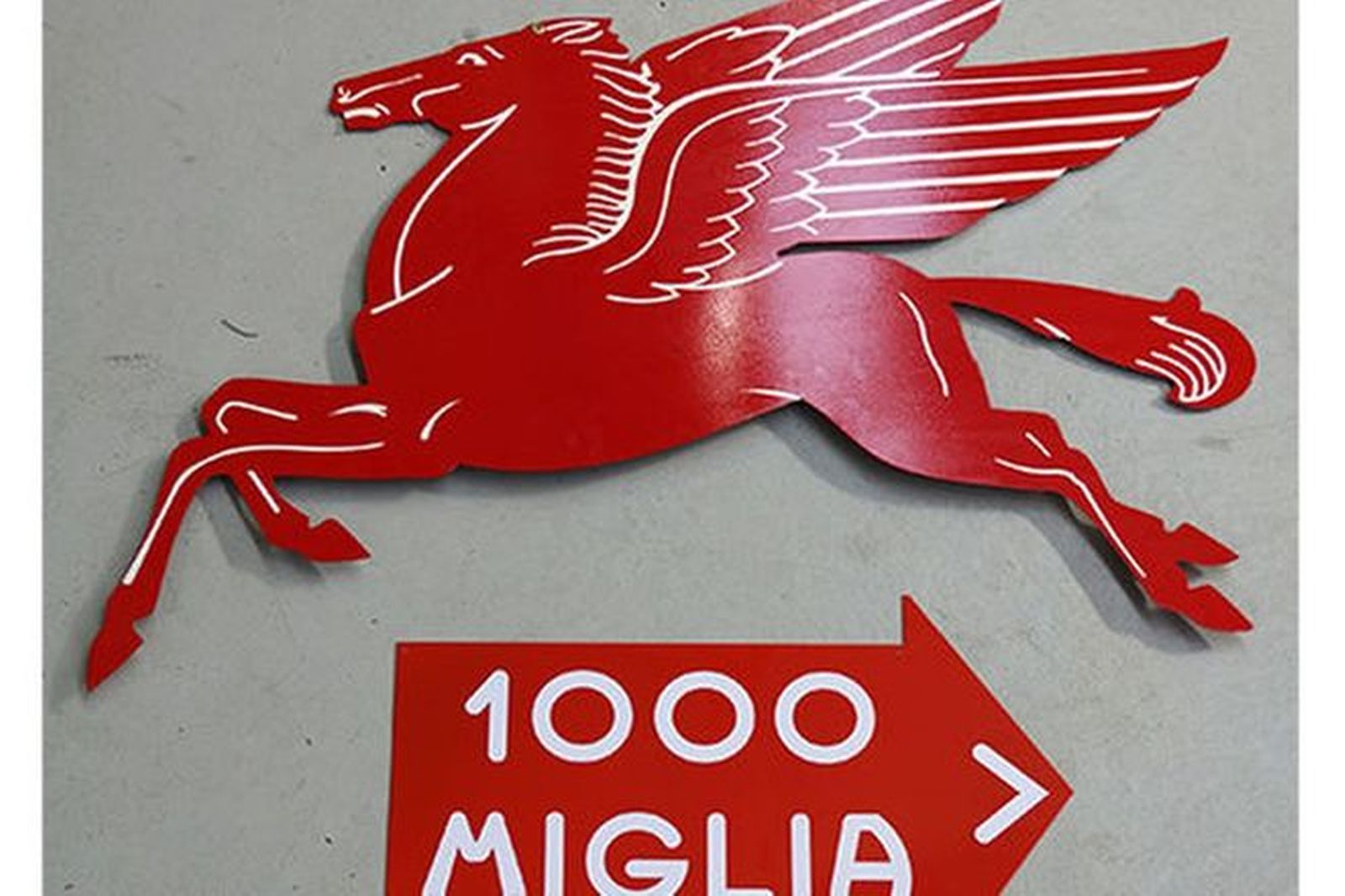Tin Signs x 2 - Large Mobilgas Pegasus & Mille Miglia (Reproduction)
