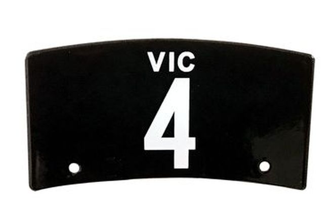 Victorian Heritage Motorcycle Number Plate '4'