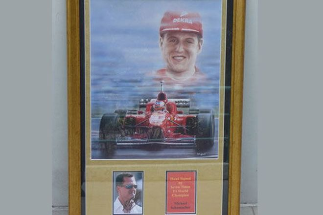 Framed Print -  Michael Schumacher 7 Times F1 World Champion (75cm x 95cm) Charity Lot