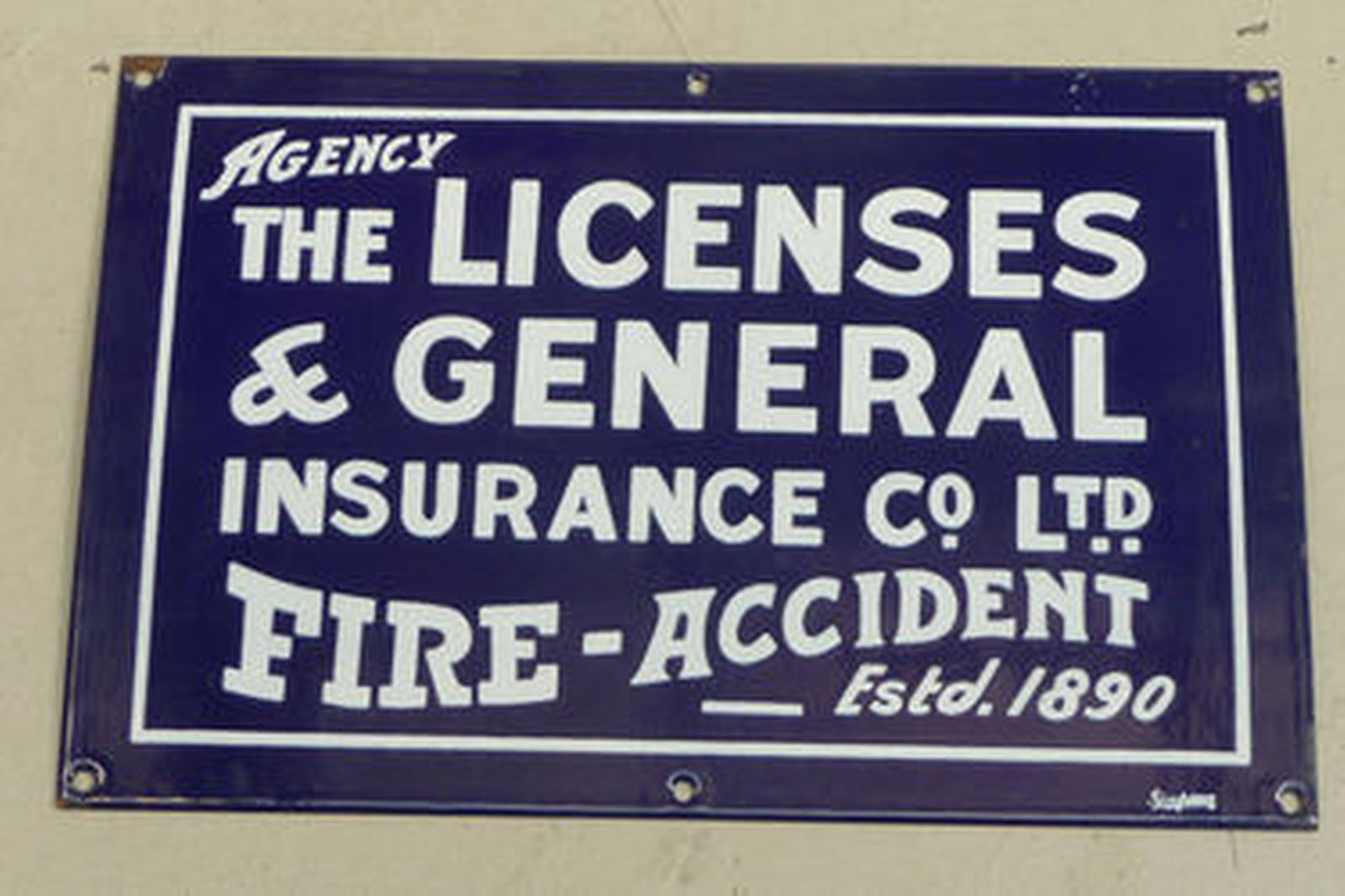 Signs - Set of 7 Insurance signs and 1 x Silver Tray