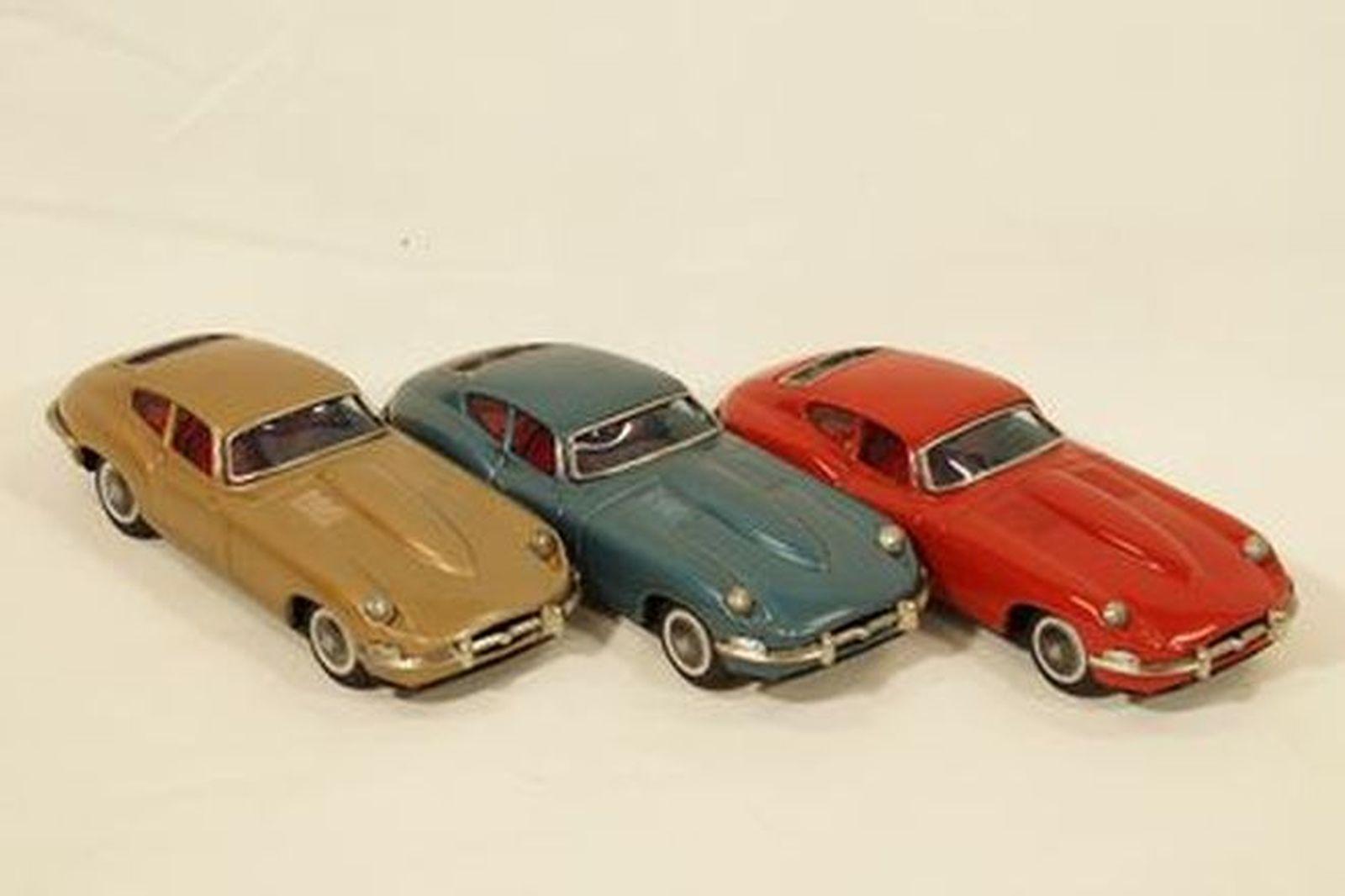 Sold Model Cars X 3 1960s Jaguar E Type Tinplate In Metallic Blue Gold