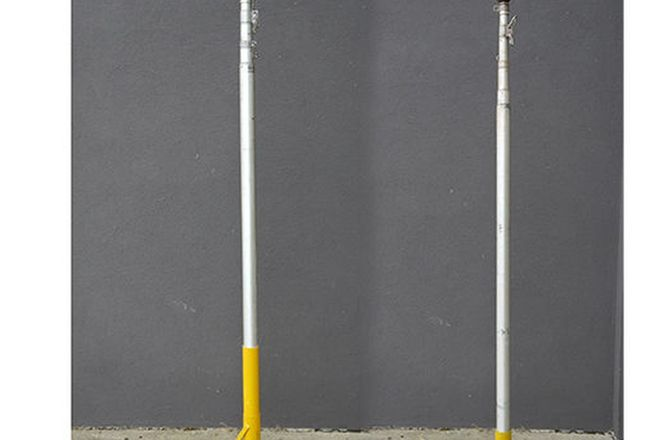Flag Poles - 2 X Aluminium telescopic flagpoles with stand (1 x 8m & 1 x 6.4m H)