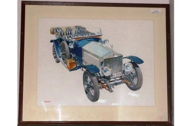 Framed Paintings x 4 - Vintage Car originals by A.Puckett (85 x 70cm)