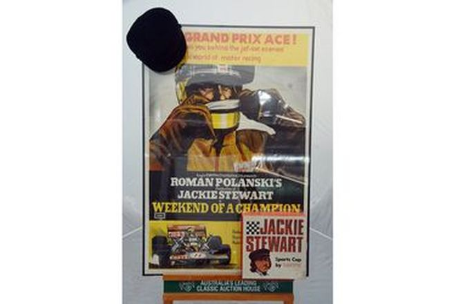 Framed Movie Poster & Cap -  'Weekend of a Champion' with Jackie Stewart & Jackie Stewart Sports Cap
