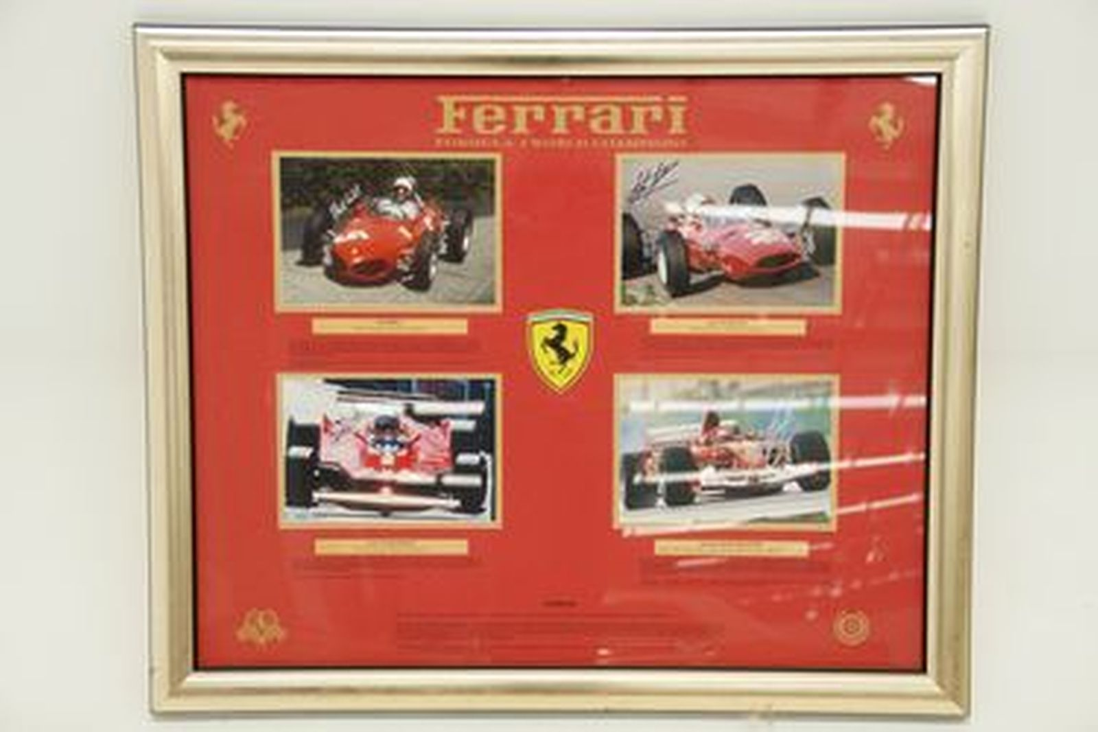 Framed Signed Print - Ferrari 4 x F1 World Champions (signed by each)