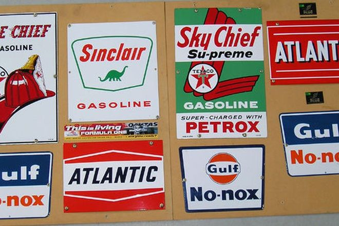 Signs - 8 x Enamel Mounted on Display Boards