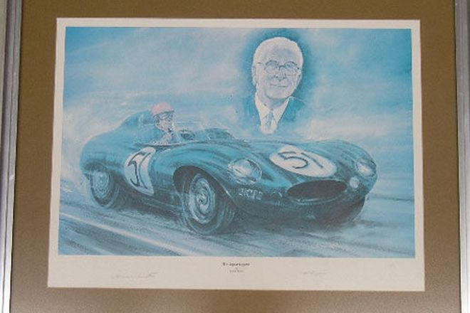 Framed Print - Jaguar D-Type signed by Duncan Hamilton Sir William Lyons (127/150)75cm x 60cm