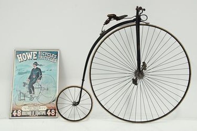 Penny Farthing - c1880s Singer & Co. 48-inch New No 2 Challenge & Howe Bicycles Framed Poster