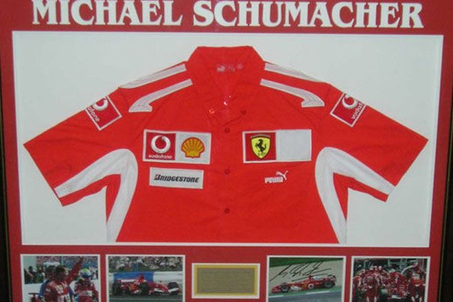 Framed Michael Schumacher Ferrari Shirt & Photos (1 Signed)