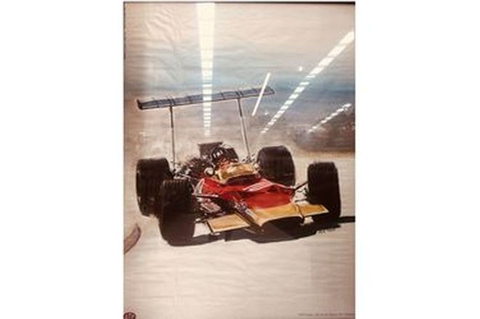 Framed Vintage Poster for STP of Graham Hill in Lotus 49 by Yves Thos (1600 x 1200mm)