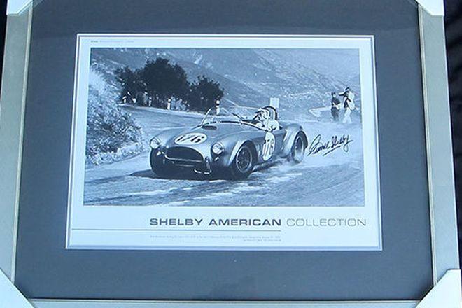 Framed Signed Print - AC Cobra Targa Floria Signed by Carroll Shelby