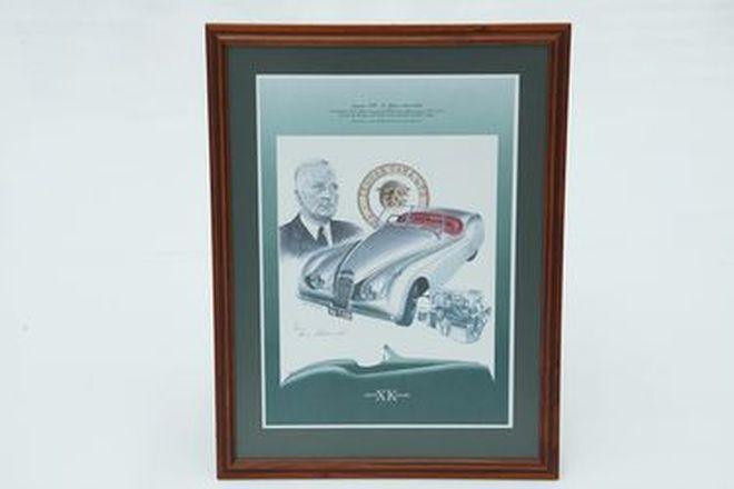 Framed Signed Print - Jaguar XK - 50 Years 1948-1998 by Brian Caldersmith