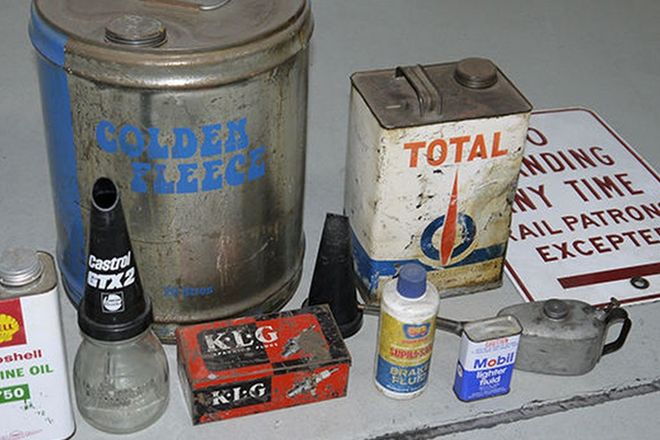 Garagenalia - Collection of Oil tins , Oil Bottle and Sign