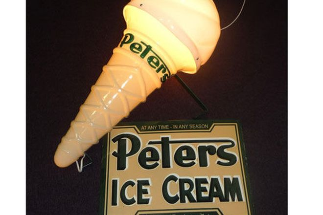 Large Light Up Peters Reproduction Ice Cream Cone & Enamel Reproduction Sign